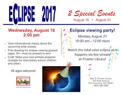 Eclipse Viewing Party at the Ray D Preuter Library